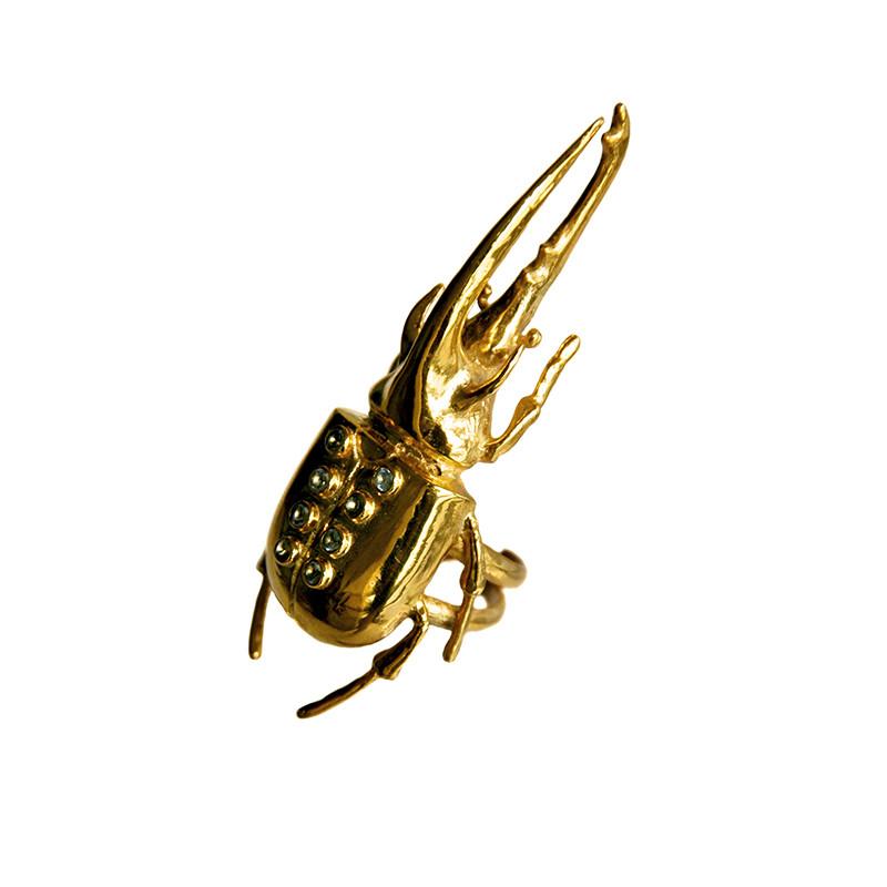 Anel Escaravelho com zircões